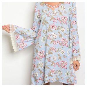 Dresses & Skirts - Long Bell Sleeve Floral Print Dress